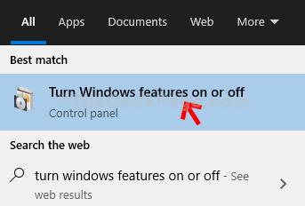 Escritorio Inicio Activar o desactivar las funciones de Windows Haga clic en Resultado
