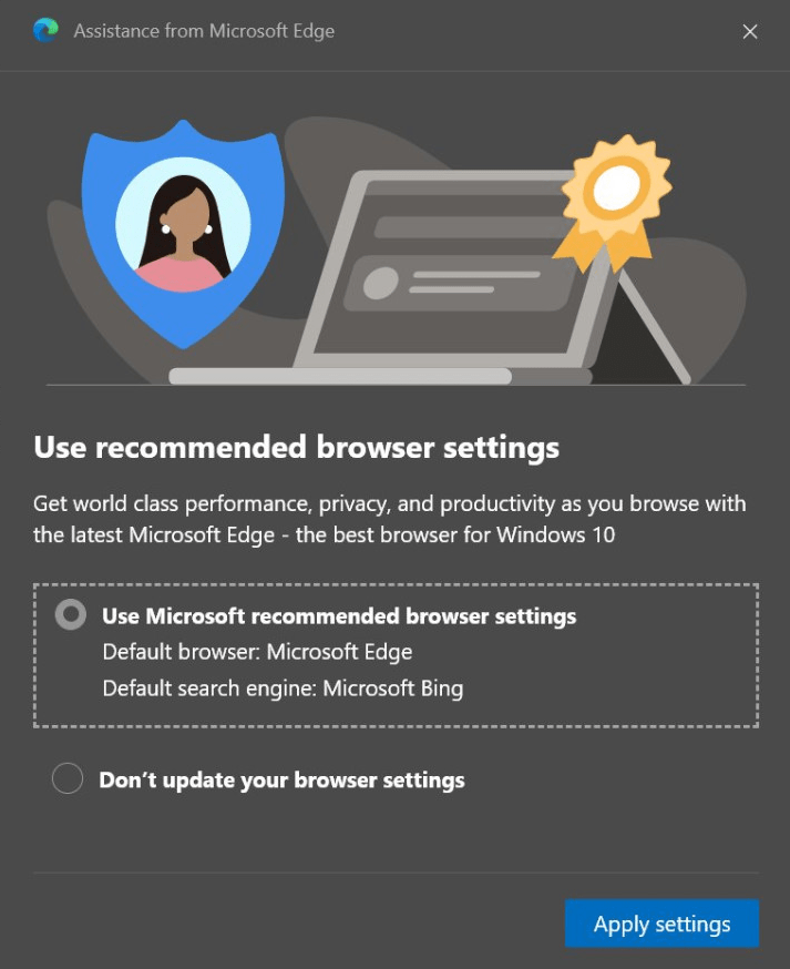 configuración del navegador recomendada por microsoft edge