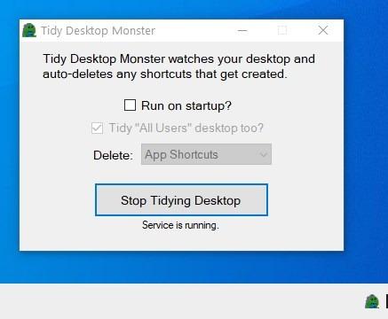 Tidy Desktop Monster es una herramienta de código abierto que elimina los accesos directos de su escritorio automáticamente