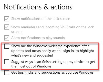 Configuración Notificaciones y acciones del sistema Experiencia de bienvenida de Windows y terminar de configurar mi dispositivo Desmarque