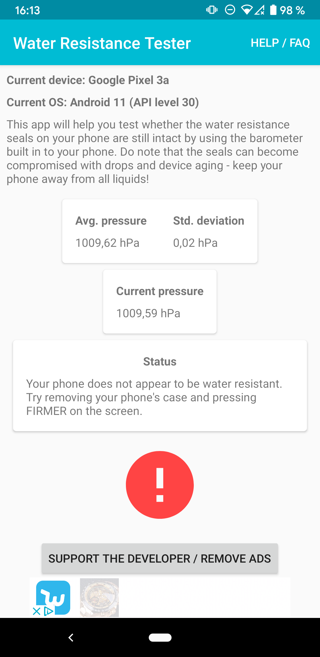 android test water resistance