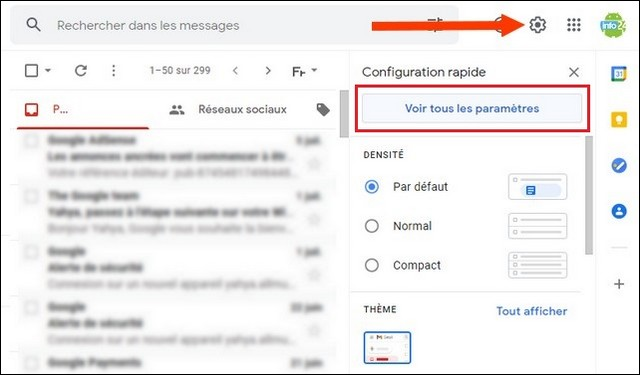 Ver toda la configuración de Gmail