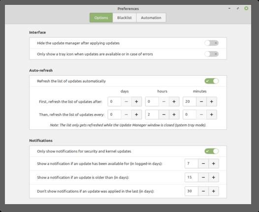 preferencias de notificaciones de actualización de linux mint