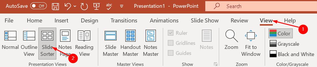 Clasificador de diapositivas de vista de PowerPoint