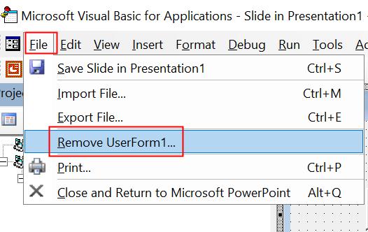 Visual Basic Eliminar formulario mínimo