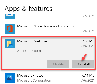 Settings Apps & Features Microsoft Onedrive Uninstall