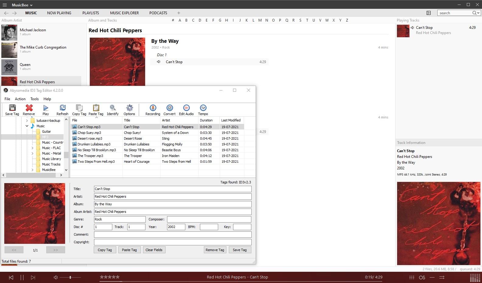 Editor de etiquetas ID3 de Abyssmedia - probando las etiquetas
