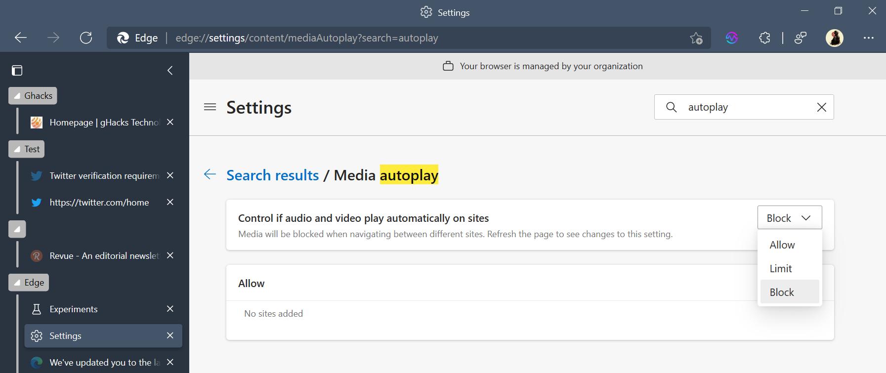 reproducción automática de Microsoft Edge Control