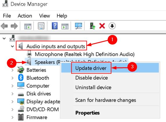 Administrador de dispositivos Actualizar controladores de audio Mínimo