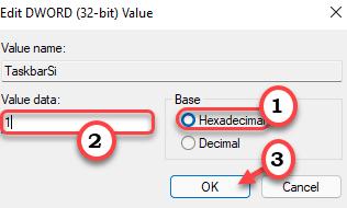 1 al mínimo de barra de tareas de tamaño medio