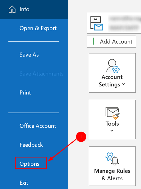 Menú de opciones de Outlook Mínimo