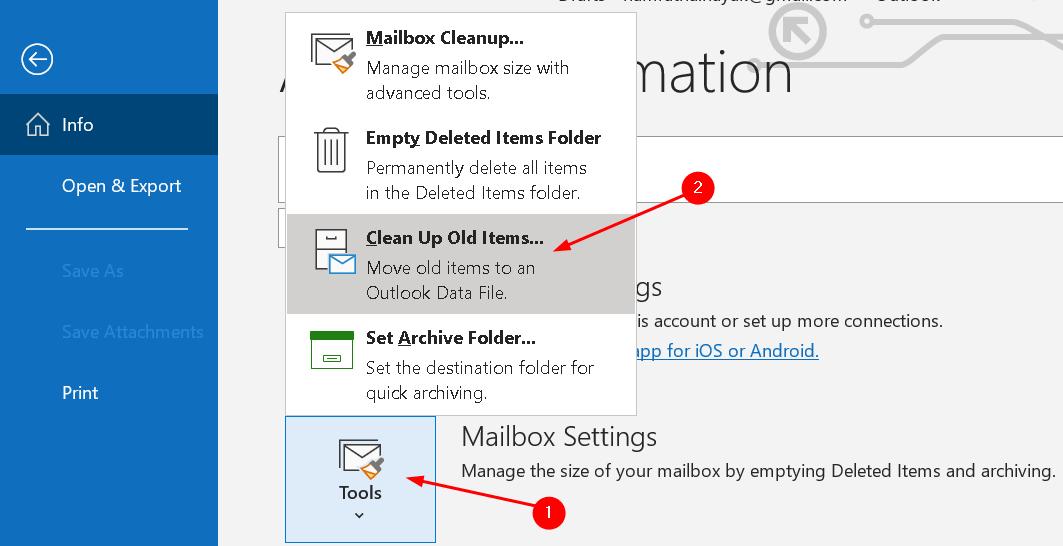 Menú de herramientas de archivos de archivo manual de Outlook Mín.