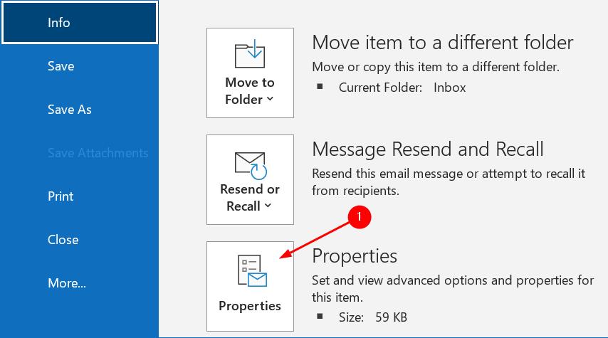 Propiedades del mensaje de Outlook Mínimo