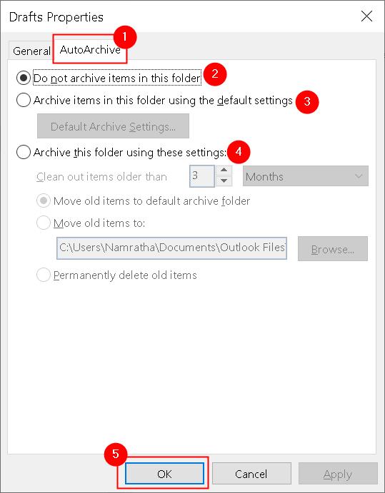 Propiedades de la carpeta de Outlook Ficha Autoarchivo Mínimo
