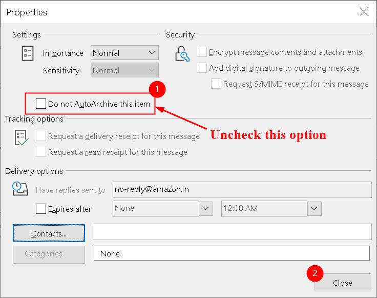 Propiedades del mensaje de Outlook Desmarque No autoarchivar mínimo
