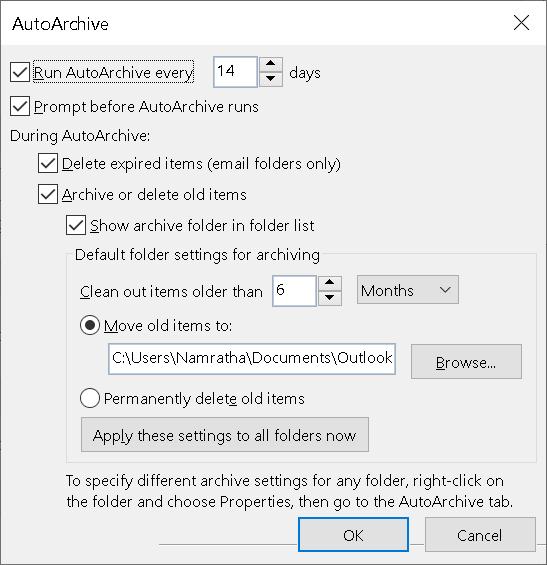 Mínimo de Autoarchivo de Outlook