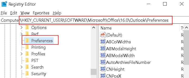 Registry Outlook Preferences Min