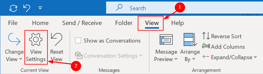 Menú de vista de Outlook Mínimo