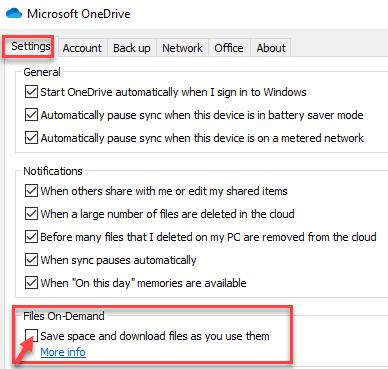 Configuración del cuadro de diálogo de Microsoft Onedrive Archivos a pedido Ahorre espacio y descargue archivos a medida que los usa Desmarque