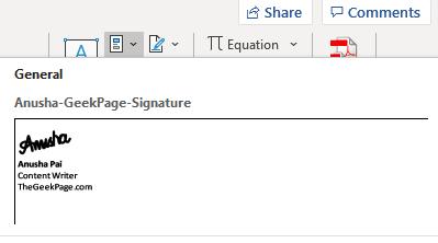 Acceso a la firma desde Quick Parts