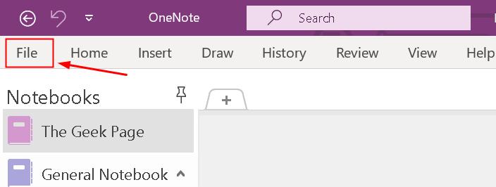 Menú Archivo de Onenote 2016 Mínimo