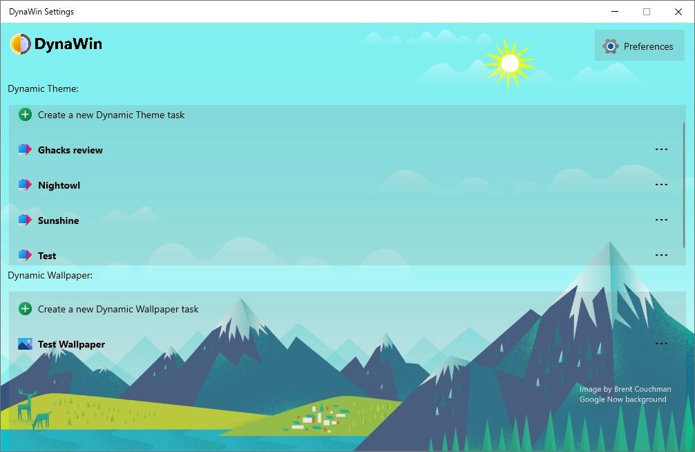DynaWin es una herramienta simple que puede cambiar el tema de Windows o el fondo de pantalla del escritorio automáticamente