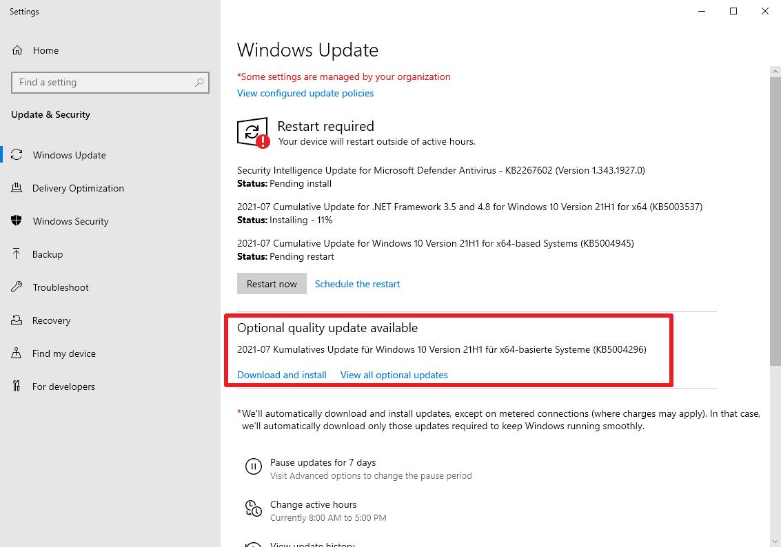 KB5004296 actualización opcional de windows 10