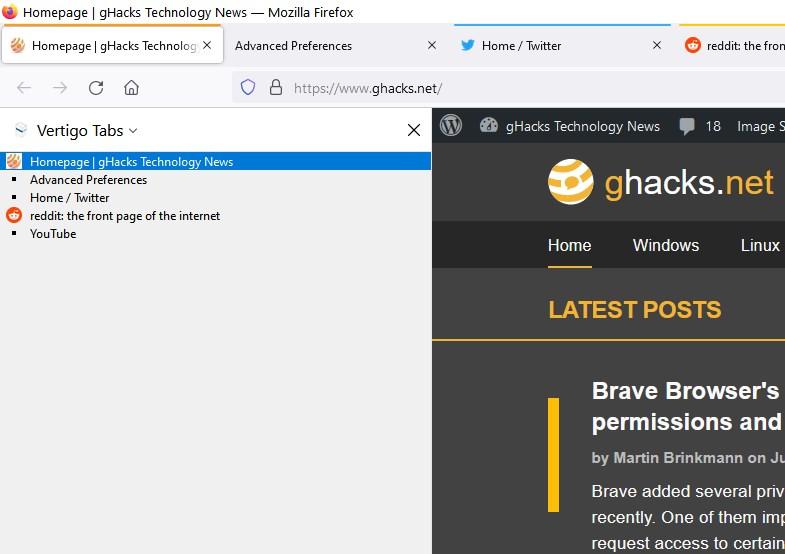 Vertigo Tabs es una simple extensión de pestañas verticales para Firefox
