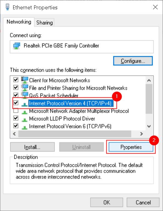 Propiedades de Ethernet Botón de propiedades de Ipv4 Mín.