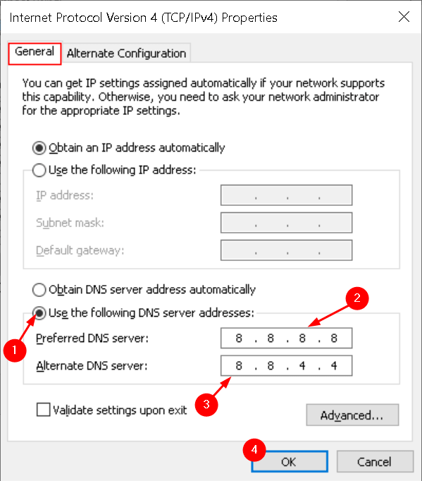 Las propiedades de Ipv4 cambian las direcciones del servidor DNS mín.