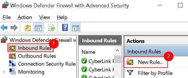 Firewall de Windows Seguridad avanzada Reglas de entrada Nueva regla Mín.