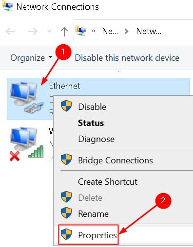 Propiedades de las conexiones de red Red actual Mín.