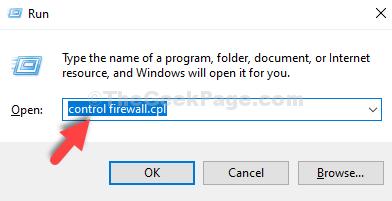Win + R Ejecutar Tipo de cuadro Control Firewall.cpl Entrar