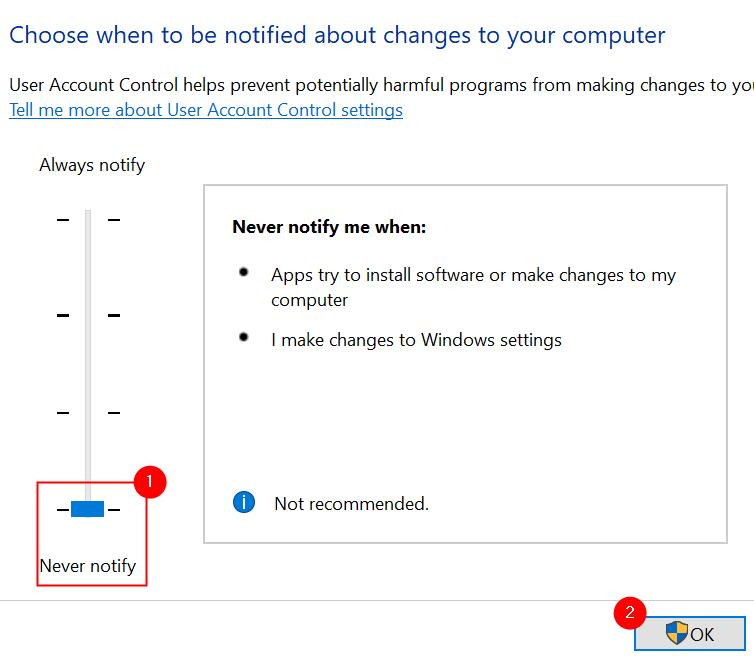 Configuración del sistema Configuración de Uac Nunca notificar mín.
