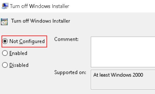 Desactivar Windows Installer No configurado Mínimo