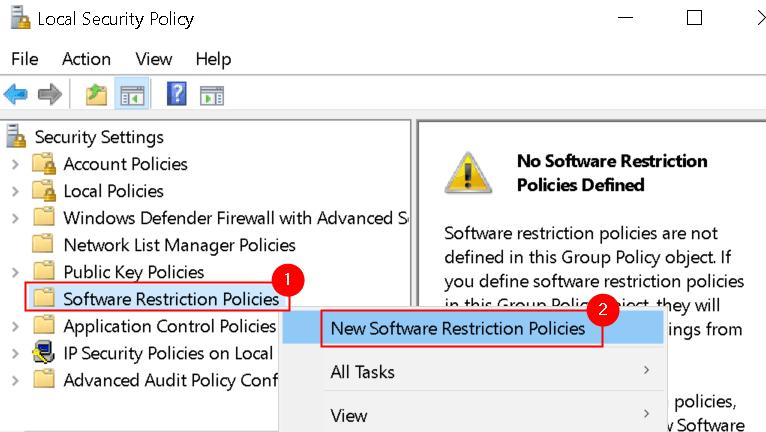 Política de seguridad Políticas de restricción de software nuevo Mín.