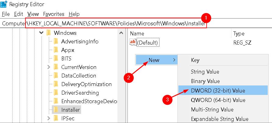 Registro Nueva entrada Windows Installer Min