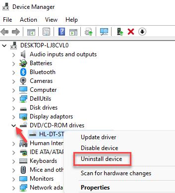 Administrador de dispositivos Dvd o Cd Rom Haga clic con el botón derecho en Desinstalación del controlador Mín.