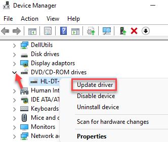 Administrador de dispositivos Dvd o Cd Rom Haga clic con el botón derecho en el controlador de actualización del controlador
