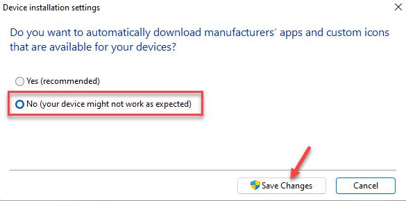 Configuración de instalación del dispositivo No guardar cambios