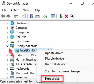 Adaptadores de pantalla del administrador de dispositivos Propiedades del clic derecho del controlador Mín.