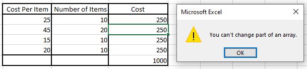 Datos de muestra de Excel con error