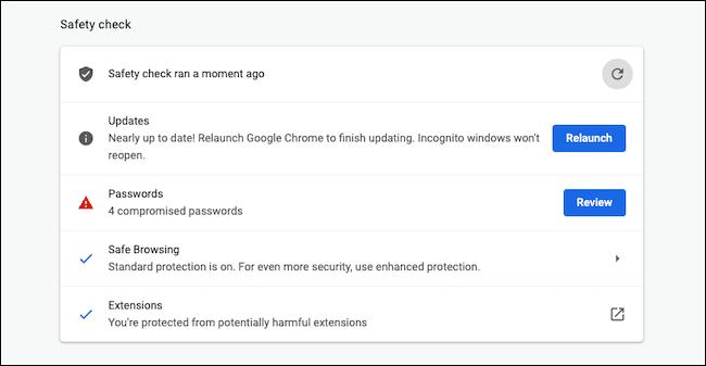 Comprobación de seguridad de Chromebook