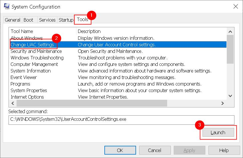Herramientas de configuración del sistema Cambiar la configuración de Uac Mín.