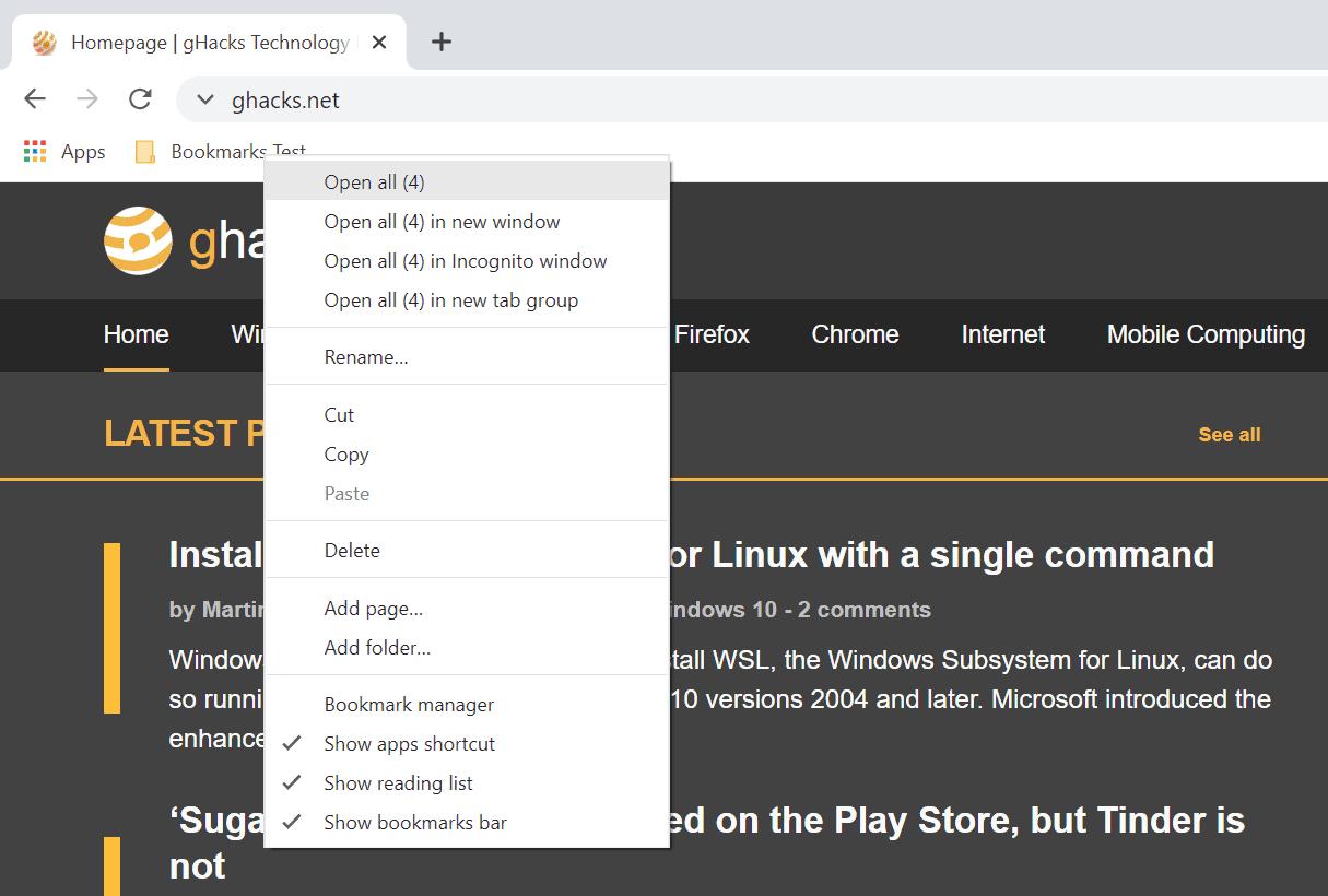 Carpetas de marcadores abiertos de Chrome