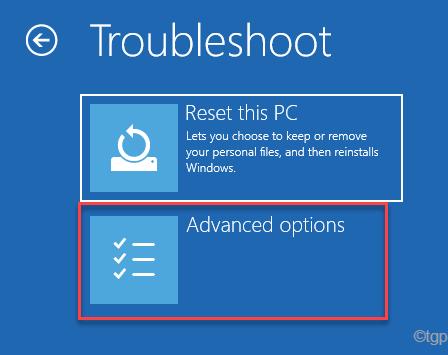 Solucionar problemas Restablecer esta PC Opciones avanzadas Inicio Reparación Mín.