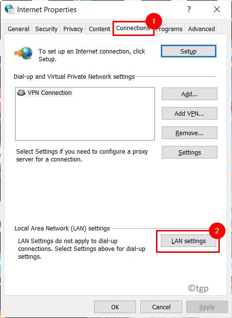 Propiedades de Internet Configuración de Lan Mín.