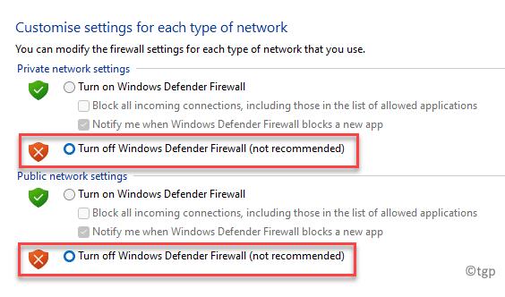 Personalizar la configuración Configuración de red privada Activar o desactivar el Firewall de Windows Defender Configuración de la red pública Activar o desactivar el Firewall de Windows Defender Ok Min Min