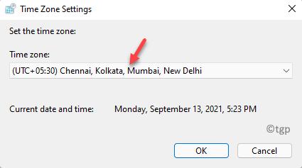 Configuración de zona horaria Establezca la zona horaria Seleccione Corregir zona de escarcha Ok
