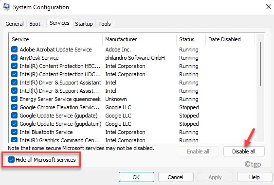 Servicios de configuración del sistema Ocultar todos los servicios de Microsoft Marcar Deshabilitar todos los mínimos